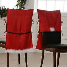 NIP, Santa Claus Suit Armless Chair Covers, Set of 4, Red, Black Belt, White Tri