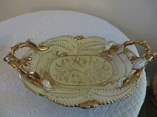 MAJOLICA STYLE MICA ITALY LARGE YELLOW GILDED GOLD TRAY PLATTER BOWL ART POTTERY