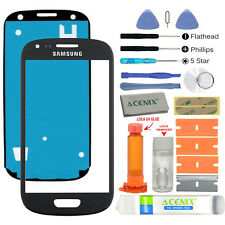 Samsung Galaxy S3 Mini Front Glass Lens Screen Replacement Kit Black + UV Glue