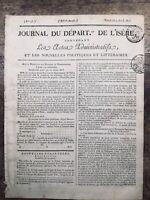 Rare Journal de l'Isère 1813 Sicile Italie Campagne d'Allemagne USA Caracas