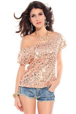 Off the shoulder Sequin Oversized Tee T shirt Blouse Dusty Pink 25078
