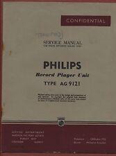 "Manuale Servizio ""PHILIPS"" RECORD PLAYER ag9121 YA.16"