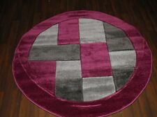 TOP QUALITY WOVEN CIRCLE RUG 140CMx140CM HAND CARVED MODERN DESIGNS PURPLE/GREY