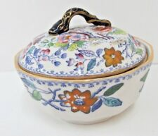 MASON'S IRONSTONE COVERED SOAP DISH SNAKE HANDLE LID FLYING BIRD PATTERN