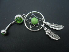 A   DANGLY STAINLESS STEEL AND BLUE/GREEN CRYSTAL DREAMCATCHER  BELLY BAR. NEW.