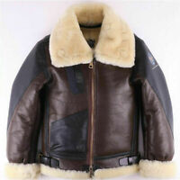 Mens Vintage Military Pilot B3 Raf Bomber Fur Real Shearling Real Leather Jacket
