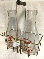 2 Milk Bottles w/ Metal Carrier Hickory Hills Farm Dairy New Vintage Style NIP