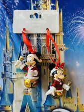 Disney Parks Santa Mickey & Minnie Mouse Jingle Bell Christmas Ornament Set