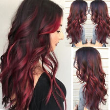 Women Sexy Elegant Black Red Natural Curly Synthetic Cosplay Party*Long Wavy Wig