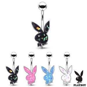 Surgical Steel OPAL Glitter PLAYBOY Bunny Belly Bar Navel Piercing Ring 10mm H37