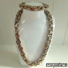 65cm Byzantine Collier + BRACELET XL Chaîne inox or argent