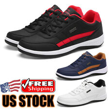 Leather Men's Walking Running Tennis Shoes Comfortable Breathable Sneakers Gym