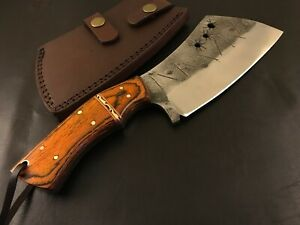 Handmade Carbon Steel Hatchet/ Axe-Antique style-Leather Sheath-Lanyard