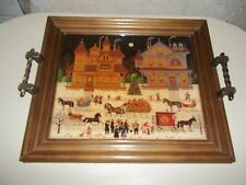 Vintage Charles Wysocki Lacquered Art Serving Tray Framed Victorian Christmas