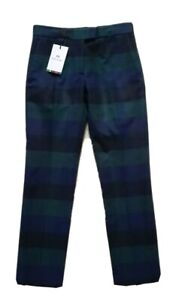 Womens PAUL SMITH TROUSERS Black Label Wool Blend Navy Green Check Size 36 (UK6)
