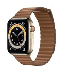 Apple Watch Series 6 44mm Case with Saddle Brown Loop - Gold Stainless Steel