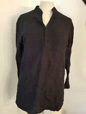 Cubavera Linen Blend Top Sz M Long Sleeve Black Women's