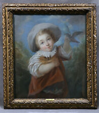 17th Century John Russell (BRITISH, 1745-1806) Portrait of Young Boy with Bird