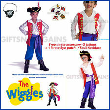 BOYS WIGGLES CAPTAIN FEATHERSWORD PREMIUM PIRATE COSTUME+FREE ACCESSORIES S:2-4Y