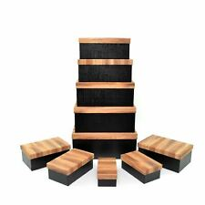 10 Wooden Finish Gift Boxes Set Lids Home Decor Christmas Wedding Gifts Storage