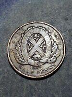 1837 Canada Un Sou City Bank Province Du Bas  Half Penny Token #112