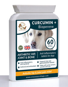 Organic Dog Curcumin + Bioperene Hip Joint Bone Pain Relief (60) Pain killers