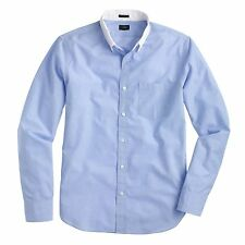 J.Crew Slim Secret Wash White-Collar Shirt in End on End Cotton Blue - Large
