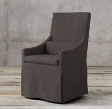 Restoration Hardware Belgian Slope Armchair Chair Slipcover Linen Charcoal $455