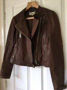 Karen Millen Leather Biker Jacket Size 8