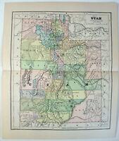 Original 1882 Map of Utah by Phillips & Hunt. Antique