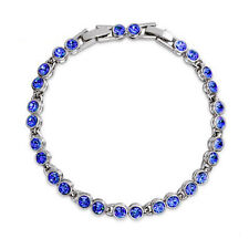 Round Dark Blue Crystal Tennis Bracelet White Gold Plated Extended Clasp