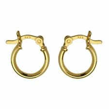 24ct Gold-Plated 925 Sterling Silver 12mm French Lock Creole Hoop Earrings
