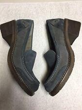 London Underground Women's Blue Gray Block Heel Casual Shoes Size Sz 10
