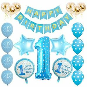 1st Birthday Decorations Set 32pcs First Baby Boys Balloons Party Decoration