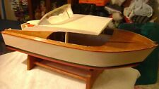 """Old 22"""" Chris Craft Style Wood Toy Boat Cabin Cruiser / Kit Built - 1950s/1960s"""