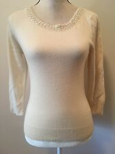 Laurel By Escada Designer Women's Ivory Beaded Wool Cashmere Top Size Small