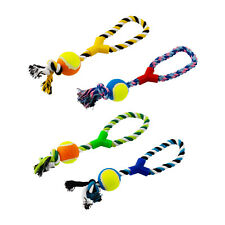4 Pack Large Strong Pet Dog Pull Chew Rope Ball Toy Tug Fetch Fun Retrieve UK