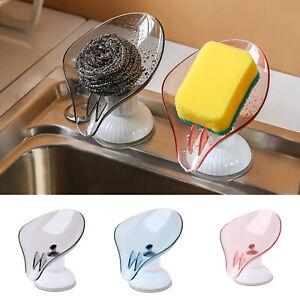 2pcs Plastic Rotatable Suction Cup Soap Box Bathroom Kitchen Drain Rack Shelf