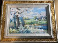 "S Parnel ""Figures In Floral Landscape Scene"" Oil Painting - Signed And Framed"