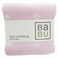 BABU - ORGANIC COTTON MUSLIN BABY TERRY FACE CLOTHS 2 PACK - Pink *FREE DELIVERY