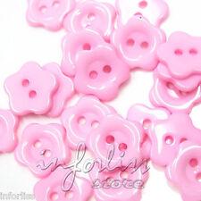 20 Botones con forma de flor rosa