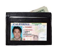 Black Leather Front Pocket Men's Thin Wallet Super Slim Credit Card ID Holder