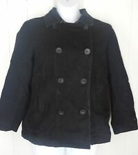 GAP womens coat black cotton pea double breasted button jacket size XL