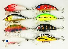 A0247 STOCK 8 PZ ARTIFICIALE SPINNING MINNOW CRANK  5 CM LURES BLACK BASS PIKE
