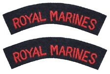 British Army ROYAL MARINES Shoulder Titles Flashes - WW2 Repro Uniform Patches