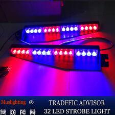 "34"" 32LED Emergency Warning Strobe Visor Mount Deck Dash Light Bar Blue Red"