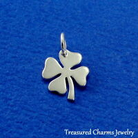 925 Sterling Silver Four Leaf Clover Charm - Shamrock Irish Pendant NEW