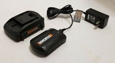 Genuine Worx Wa3525 2Ah 20v Lithium Battery & Charger Wa3742 Combo Used Works