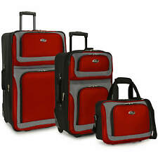 US Traveler Red New Yorker 3-Piece Expandable Rolling Luggage Suitcase Bag Set