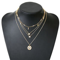 Women's Multilayer Jewelry Crystal Star Moon Pendant Gold Chain Choker Necklace